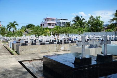 Cemetery Image with Crosses, Chantaburi, Thaialand photo