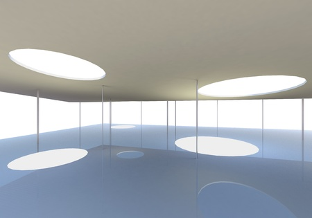 Abstract skylight of Conceptual modern building, 3D rendered photo