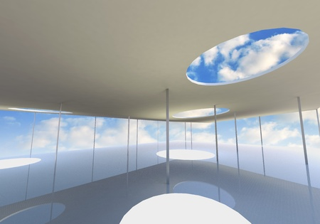 Abstract skylight of Conceptual architecture with blue sky photo