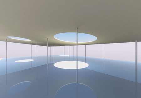 skylight: Abstract skylight and columns of Conceptual architecture Stock Photo