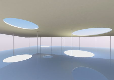 Interior of Conceptual modern building, 3D rendered photo