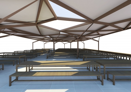 3D Rendered of Canteen,Organic Architecture on white background photo