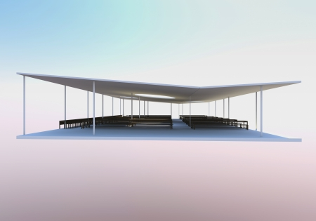 skylight: 3D Rendered of futuristic architecture, modern canteen