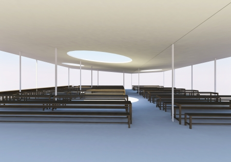 void: 3D rendered of modern canteen with wood chairs and tables