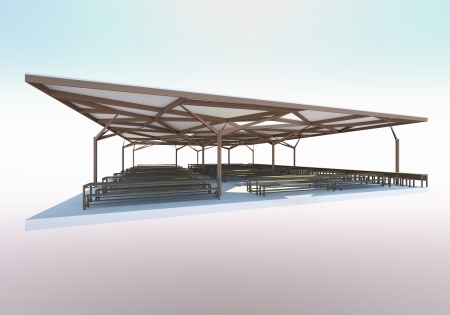 3D Rendered of Canteen,Organic Architecture photo
