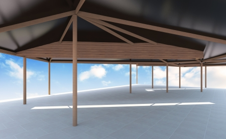 skylight: 3D rendered of  Futuristic architecture with blue sky