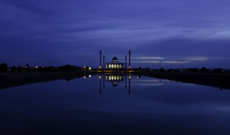 Twilight at Central mosque, Songkhla province, Thailand  photo