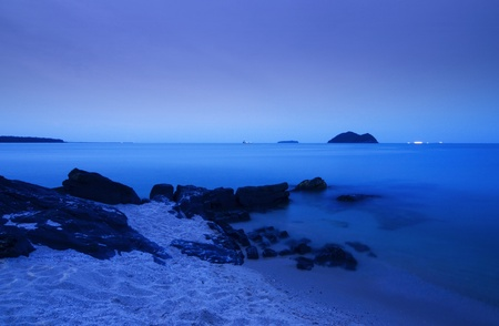 Samila beach in Songkhla province, Twilight time photo