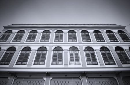 old building facades: Old building facades, Songkhla province, Thailand  Black and white