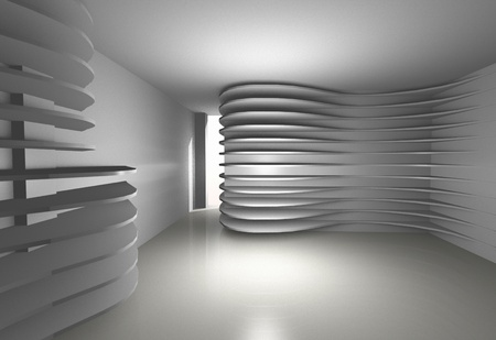 Abstract interior with white shelfs photo
