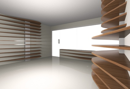 Abstract interior with horizontal wood shelfs, 3D render photo