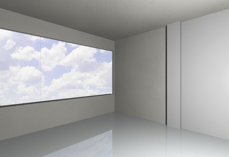 3D render of empty room with sky photo