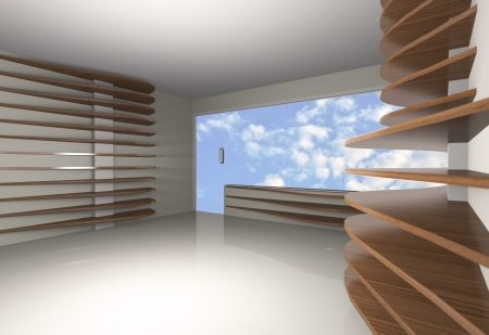 Abstract interior with horizontal wood shelfs, blue sky background photo