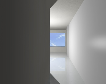 Corridor of white empty interior, 3D rendering photo