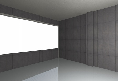 Perspective of empty room, bare concrete wall and reflecting floor photo