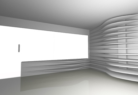 Futuristic interior with white curve shelfs, 3D rendered photo