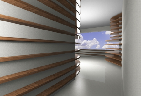 3D rendered of abstract interior with curve wood shelfs photo