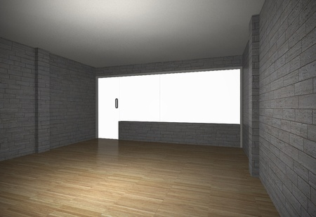 Perspective of empty room with brick wall and old wood floor photo