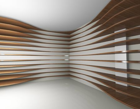 3D rendered of futeristic interior with curve wood shelfs photo