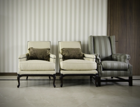 Three luxuus armchairs in room Stock Photo - 21705853