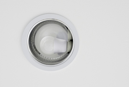 recessed: Ceiling downlight on white ceiling