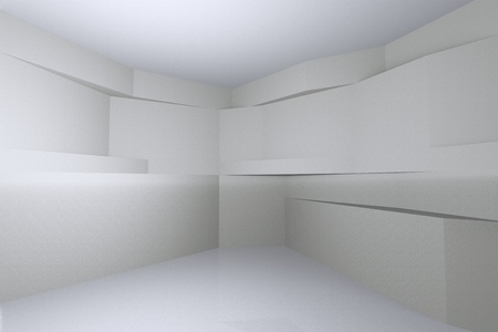 Abstract interior, Empty room with free form wall