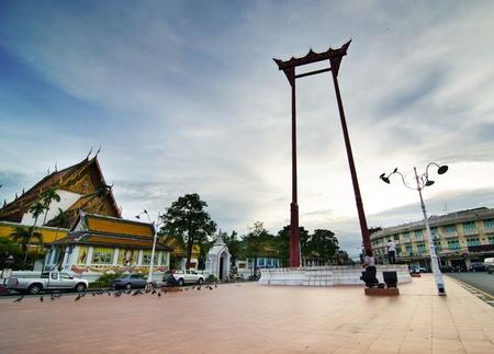 Giant Swing near wat Sutadhtepvararam temple in Bangkok, Thailand, twilight field  photo