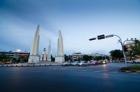 Twilight time of Democracy Monument in Bangkok, Thailand  photo