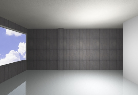 Empty room, bare concrete wall and reflecting floor, blue sky background
