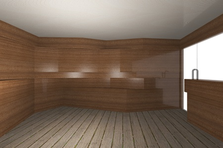 Abstract interior with wooden wall and plank wood floor photo