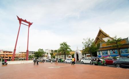 Giant Swing near wat Sutadhtepvararam temple in Bangkok, Thailand,