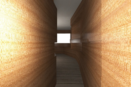 Futuristic inter with wooden wall and plank wood floor Stock Photo - 22415043