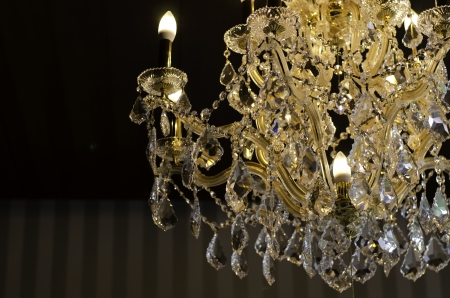 close up on the crystal of beautiful chandelier  photo