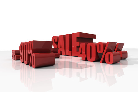 Sale discount set with percents and volume 3D font on white background photo
