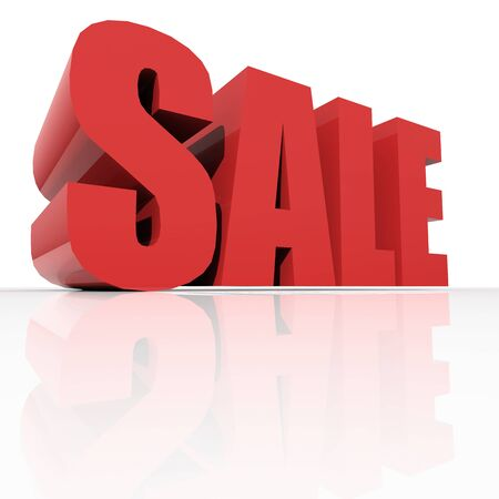 3d red text SALE over white background photo