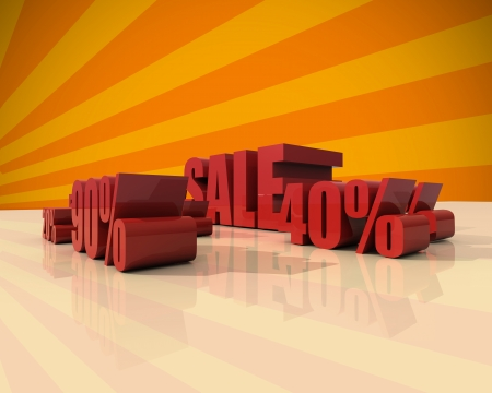 Sale discount set with percents and volume 3D font on orange background photo