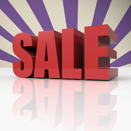 big sale: 3d red text SALE on violet background