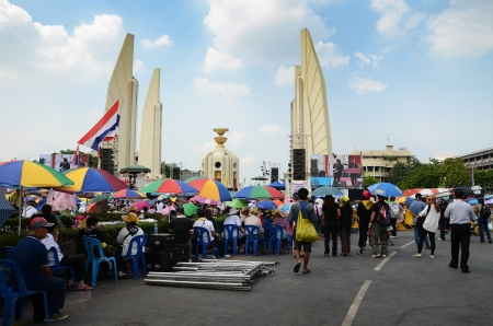 BANGKOK - NOVEMBER 11   The Democrats are on the march at Democracy monument, on November 11, 2013 in Bangkok, Thailand