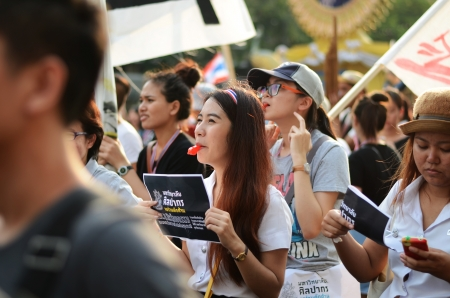 demonstrator: BANGKOK - NOVEMBER 11, 2013   Anti-government protesters at the Democracy Monument on November 11, 2013 in Bangkok, Thailand  The protest Against The Amnesty bill in Bangkok, capital of Thailand