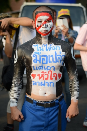 amnesty: BANGKOK - NOVEMBER 11, 2013   Anti-government protesters at the Democracy Monument on November 11, 2013 in Bangkok, Thailand  The protest Against The Amnesty bill in Bangkok, capital of Thailand