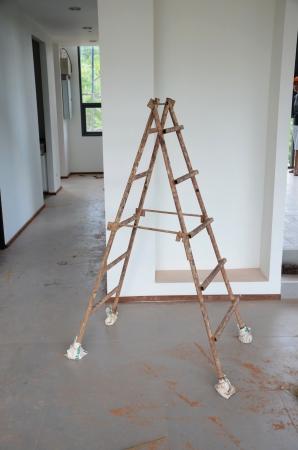 Grunge stepladder in construction site