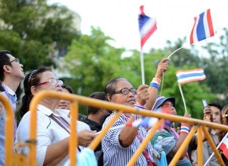 amnesty: BANGKOK - NOVEMBER 11, 2013 : Anti-government protesters at the Democracy Monument on November 11, 2013 in Bangkok, Thailand. The protest Against The Amnesty bill in Bangkok, capital of Thailand