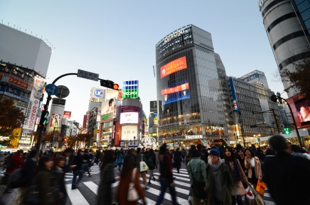 TOKYO - NOVEMBER 28  Pedestrians at the famed crossing of Shibuya district November 28, 2013 in Tokyo, JP  Shibuya is a fashion center and nightlife area   에디토리얼