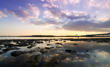 Afterdark  View of a tropical lagoon at dusk, Kasairinkai park, Japan photo