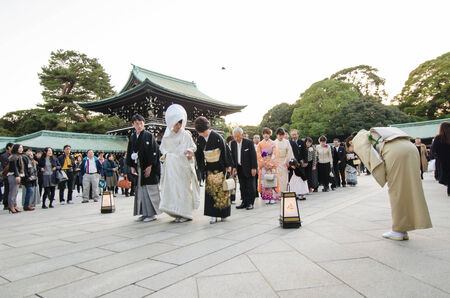 HARAJUKU,TOKYO - NOV 20  Celebration of a typical wedding ceremony on November 20,2013 in Meiji Jingu Shrine Harajuku Tokyo, Japan