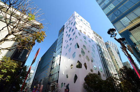 tourist spot: GINZA, JAPAN - NOV 26   Modern building in Ginza area on November 26, 2013 in Tokyo  Ginza shopping area  The popular tourist spot in Tokyo