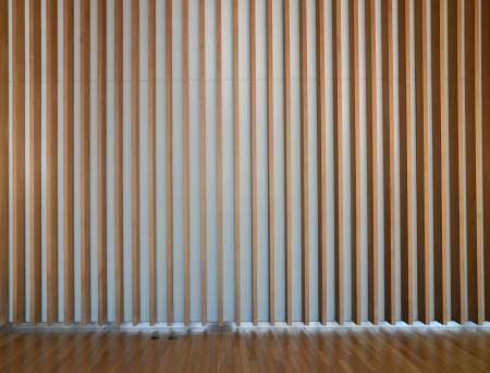 wooden fin facade interior of modern building