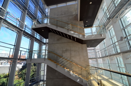 Stairwell in a modern office building