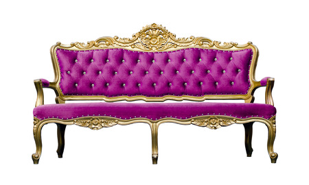Vintage luxury Pink sofa Armchair isolated on white background photo