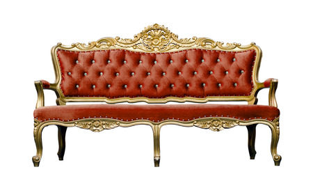 Vintage luxury scarlet sofa Armchair isolated on white background photo
